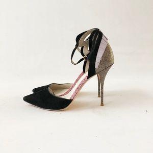 Sophia Webster Penelope Glitter Suede Heels sz 39